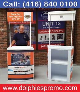 Portable Promotion Tables Sampling Counters Promo Pop Up Table + CUSTOM Graphics for any Marketing Event