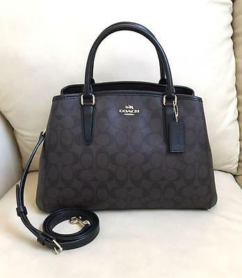 Nwt Coach Brown Black Small Margot Carryall Pvc Satchel Bag Purse F58310