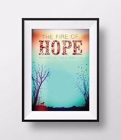 Fire of Hope - A3 Print - Yes to Scottish Independence - Butterfly Rebellion