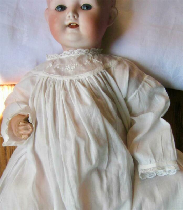 antique CHRISTENING GOWN Sweet Long Baby Dress EMBROIDERED YOKE Tucks Lace Trim