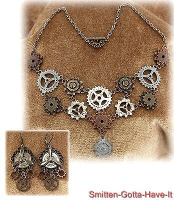 STEAMPUNK New GEARS & Propeller Necklace & Pierced Earring SET Costume Prop GIFT