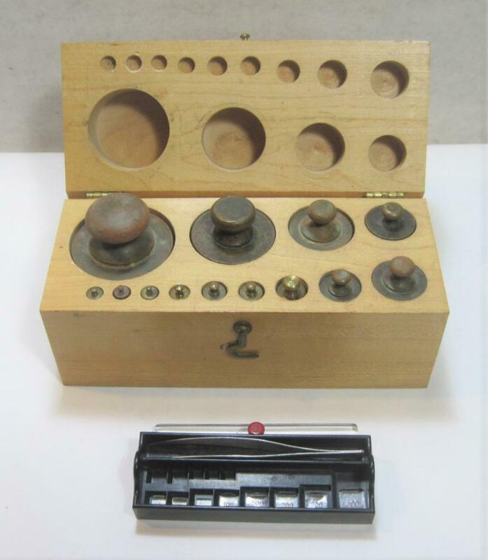 Vintage 9pc Fisher USA Stainless & 13pc Brass Calibration Weight Set w Wood Case