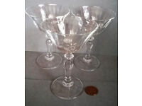 vintage white frosted cocktail glasses