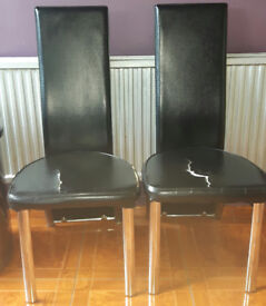 2 Black faux leather & Chrome Dining Chairs