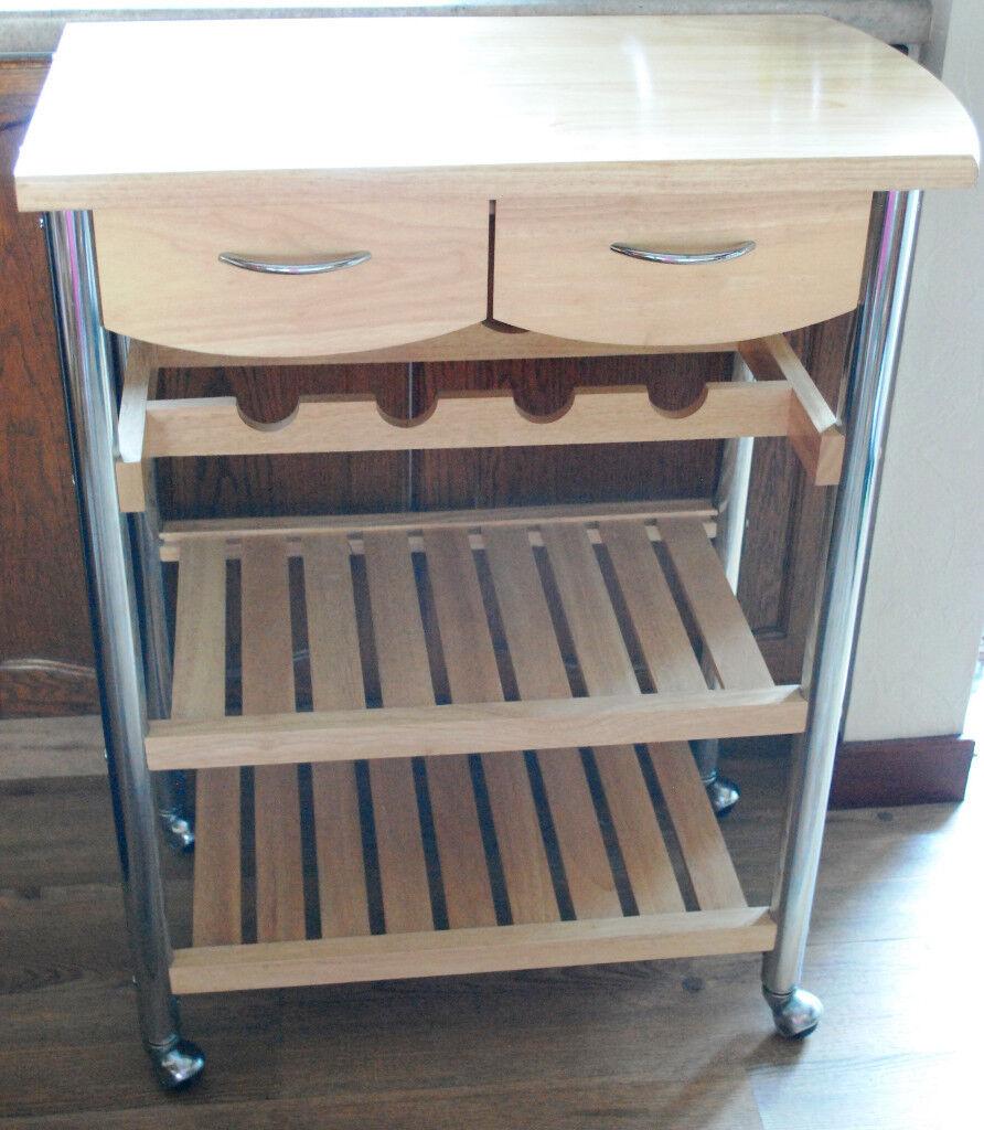 Kitchen Shelf Gumtree: WOOD AND CHROME KITCHEN TROLLEY