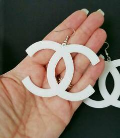 HUGE! Black or White acrylic Chanel dangle Earrings Brand New