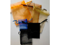 Job Lot of 6 New Various Sized Blue,Black,Brown,Orange and Gold Plain Jewellery Gift Bags Pouches.