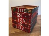 Vintage wooden stacking factory storage trays