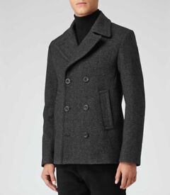 Reiss Boston Mens Charcoal Jacket, Coat, Peacoat - MEDIUM