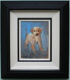 Irish Art Original Oil Painting LABRADOR RETRIEVER PUPPY DOG by CON CAMPBELL