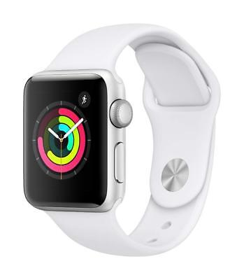Apple Watch Series 3, 38mm Silver Aluminum Case with White Sport Band (GPS), NEW