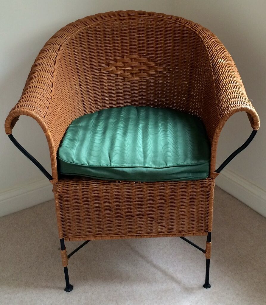 Moving Sale Wicker Metal Rattan Chair W Green Cushion