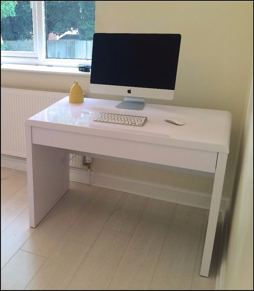 Luxor contemporary high gloss computer desk workstation with hidden drawer