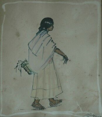 Vintage Mixed Media Watercolor Indian Woman Gathering Corn Signed J L Rodriguez