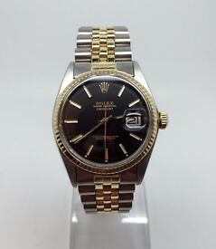 ♛GENTS ROLEX DATEJUST 1601 18k GOLD & STEEL AUTOMATIC WATCH YEAR 1977 BLACK DIAL