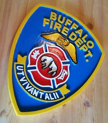 Fire Department Buffalo 3D routed carved plaque wood patch sign New