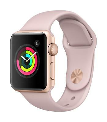 APPLE WATCH SERIES 3 38MM GOLD ALUM CASE PINK SAND SPORT BAND GPS MQKW2LL/A
