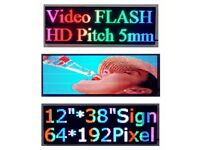 """38""""x13"""" Thumb Drive Programmable Animations Full Color LED SIGN display store LOGO window sign"""