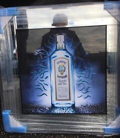 Bombay sapphire liquid art mirror framed pictures