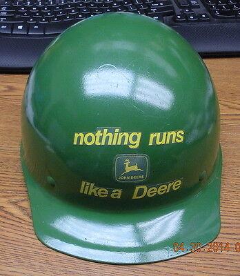 Vintage Fiberglass Safety Hard Hat Helmet With John Deere Stickers Very Nice