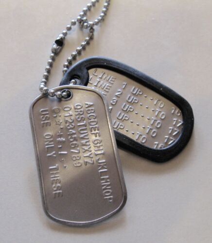 2 Military Dog Tags - Custom Embossed Stainless - 2 GI Chains w/ 2 Silencers