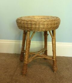 Vintage / Retro Wicker Ratton Stool / Small Table excellent quality
