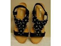 black flower wedge sandals stretchy strap
