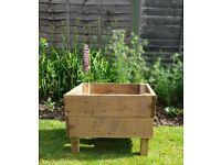 Large square wooden garden planter approx. size 60 cm x 60 cm x 45 cm H, 30 cm deep