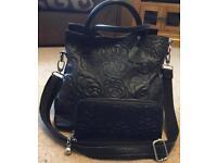 Black Genuine Leather Embossed Flower Print Handbag Shoulder Crossbody Bag and Matching Purse