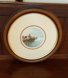 antique painting in round frame, Dutch