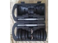 York Fitness 20kg Cast Iron Dumbbell Set with Case - excellent condition in box. Unused.