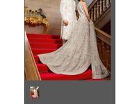 Stunning silver asian wedding dress lengh for sale