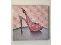 BRAND NEW - PINK GIRLY RHINESTONE SHOES CANVAS WALL ART - Fashion Picture Print 40x40cm