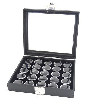 1 Glass Top Lid Black 25 Jar Box Case Display Gems Body Jewelry Gold Nuggets