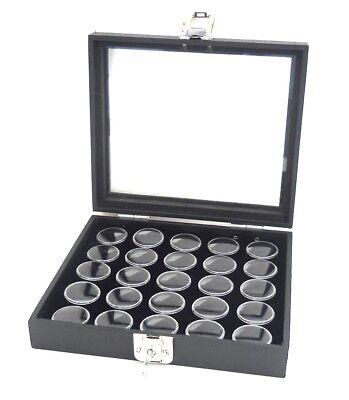 1 Glass Top Lid Black 25 Jar Box Case Display Gems Body Jewelry Gold Nuggets