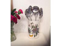 Shabby Chic portmeirion botanic garden vase utensil holder ceramic