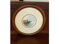 dutch watercolour in round frame