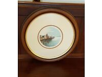 Watercolour painting, in solid mahogany round frame, dutch canal scene