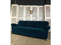 Vintage Art Deco Peacock Blue Sofa