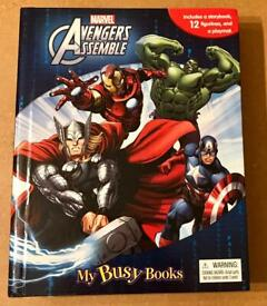 Marvel Avengers Assemble Storybook, 12 Figurines And Playmat. Complete And VGC.
