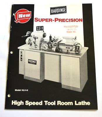 Hardinge Hlv-h High Speed Tool Room Lathe Brochure