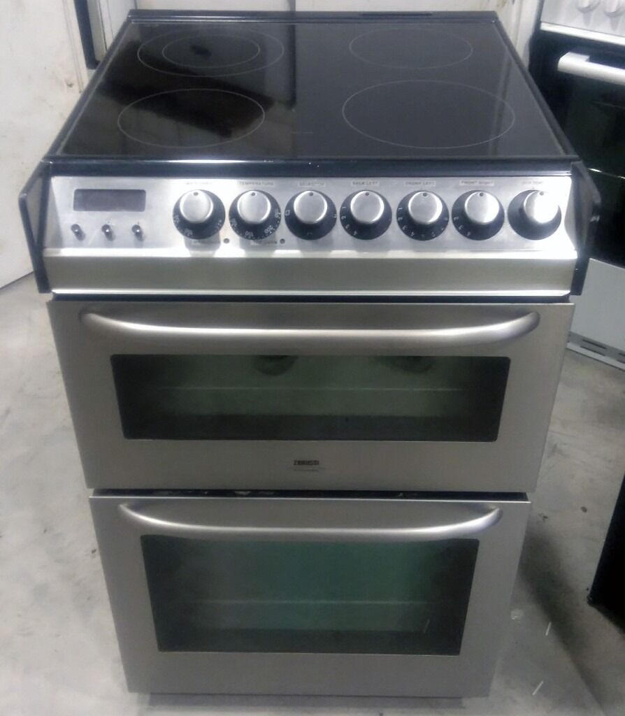 fan assisted cooker. zanussi zce7551x 600mm fan assisted electric doube oven cooker with ceramic hob