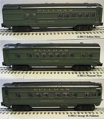 LIONEL 3 PACK PULLMAN LIGHTED PASSENGER CAR SET O GAUGE train coach 6-30111 NEW