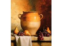 Hand Embelished Canvas Print Confit Jar with Pears & Grapes by the late Loran Speck 'MINT condition'