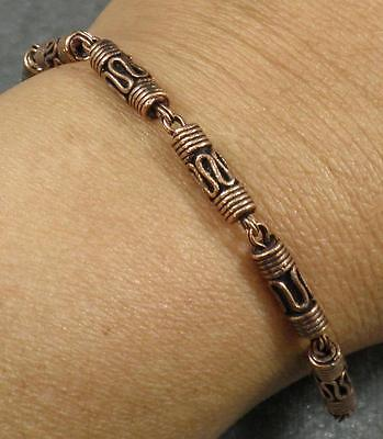 Solid Copper Antiqued Bali Style Tube Bead Link Bracelet 7.5
