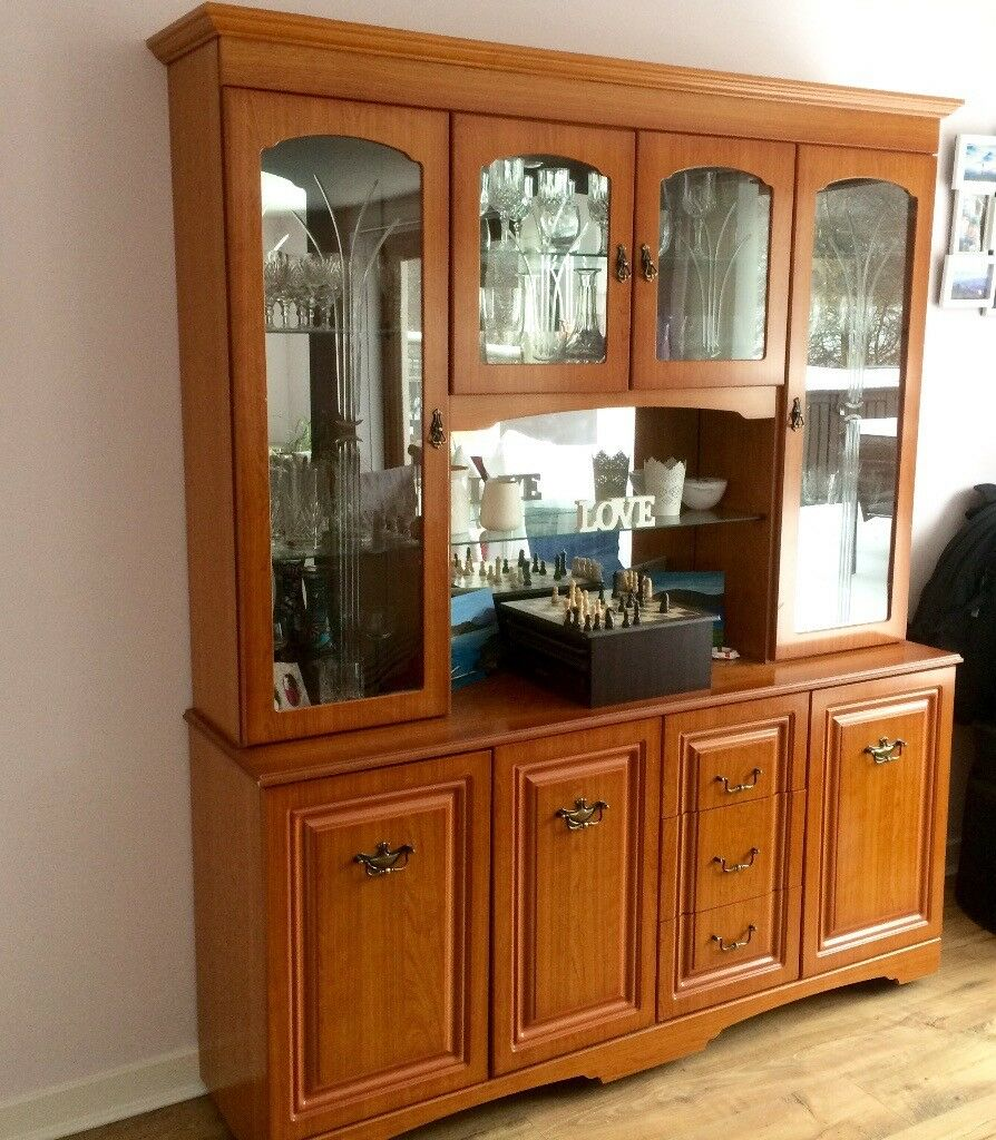 DISPLAY CABINET Glass Wooden Mirrored Unit