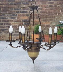 Large bronze-coloured metal chandelier. 6 lights. PRICE REDUCED from £50-->£40