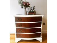White and Mahogany Vintage Serpentine Georgian Style Chest of Drawers