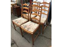 Ercol Elm Ladder Back Chairs- Set Of Four