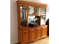 DISPLAY CABINET Glass Wooden Mirrored Unit - Living Room/Dining Room Storage